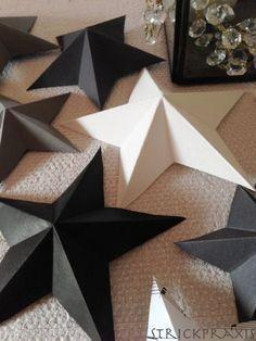 Anleitung 3D-Sterne falten - die sehen mit Glitzerpapier bestimmt ganz toll aus