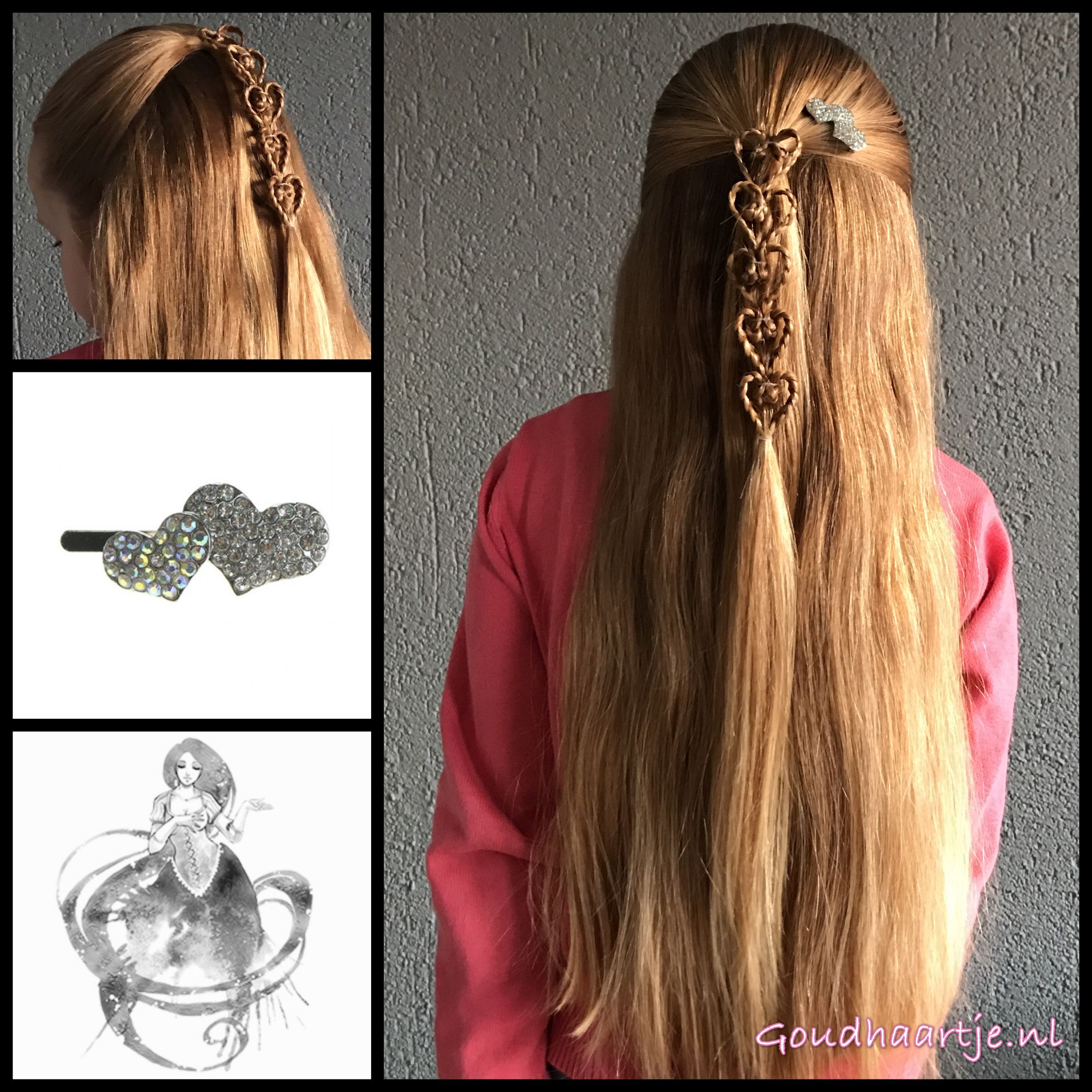 Halfupdo with braided hearts and a lovely hairclip from the webshop