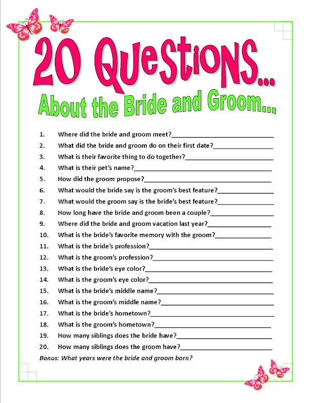 For Wedding Reception Table With Most Answers Correct Gets Served First