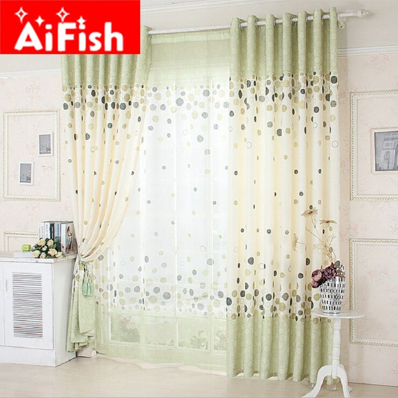 European Style Green And Grey Color Rural Circle Luxury Curtain For Bedroom High Quality