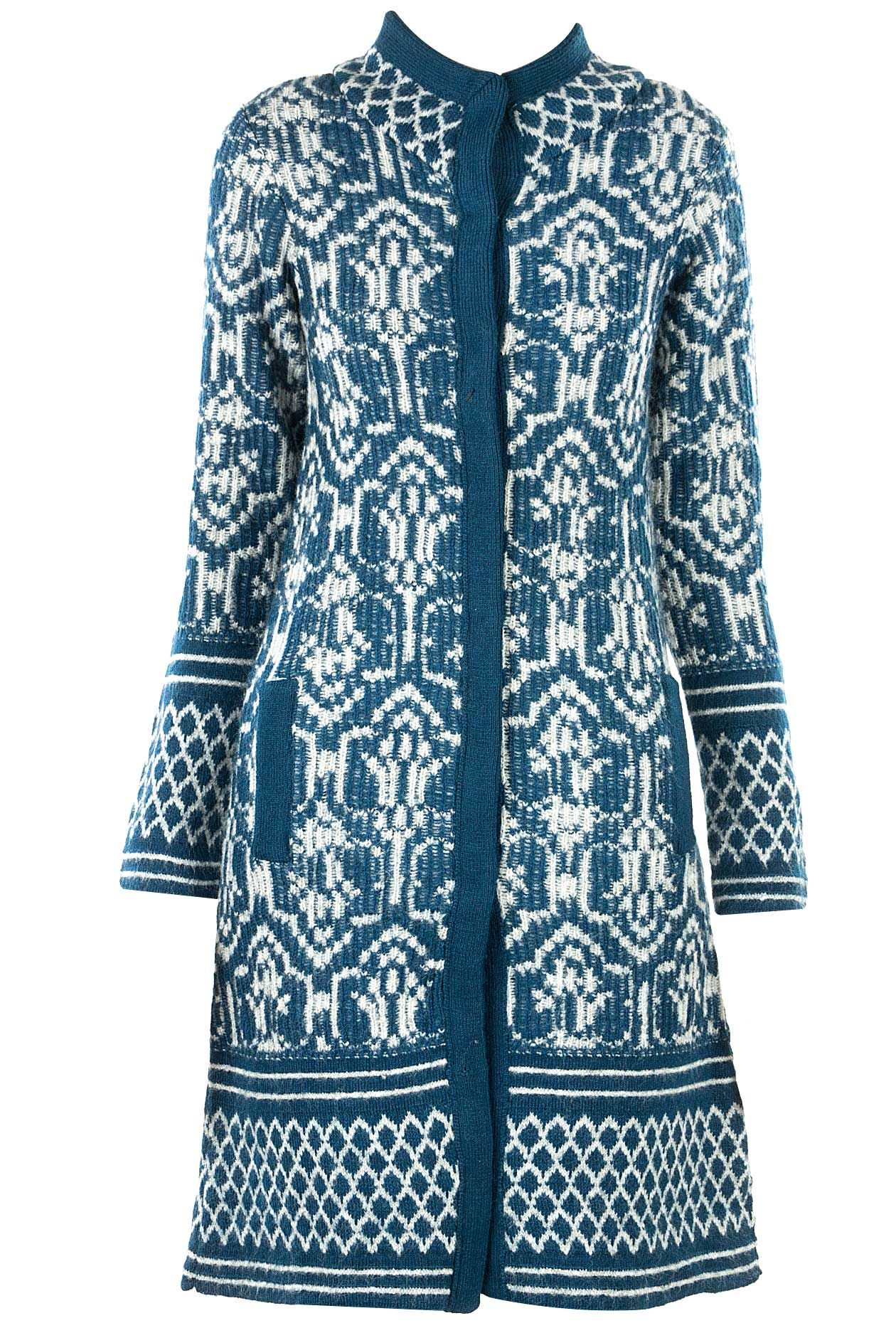 Petrol Blue and white jacquard knitted sweater jacket available only at  Pernia's Pop-Up Shop