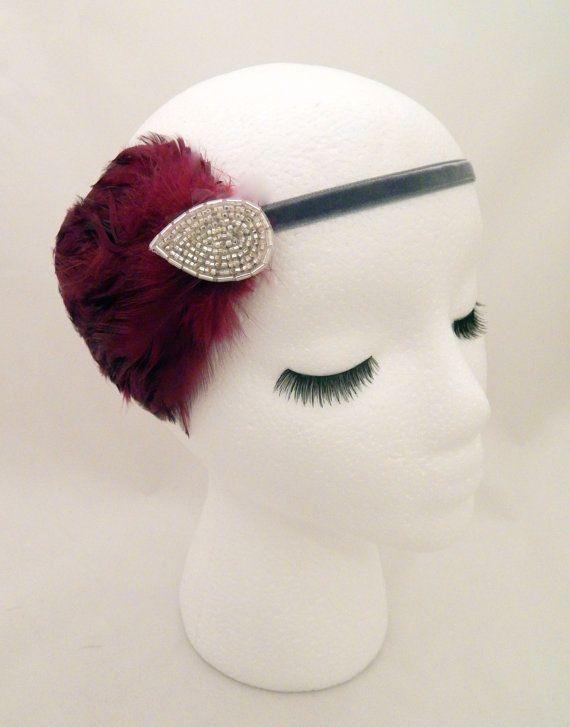The Elsie  burgundy flapper headpiece by ShorelandChic #flapper #headpiece #burgundy #darkred #silverbeaded #gatsbystyle #partyheadband #featherfascinator