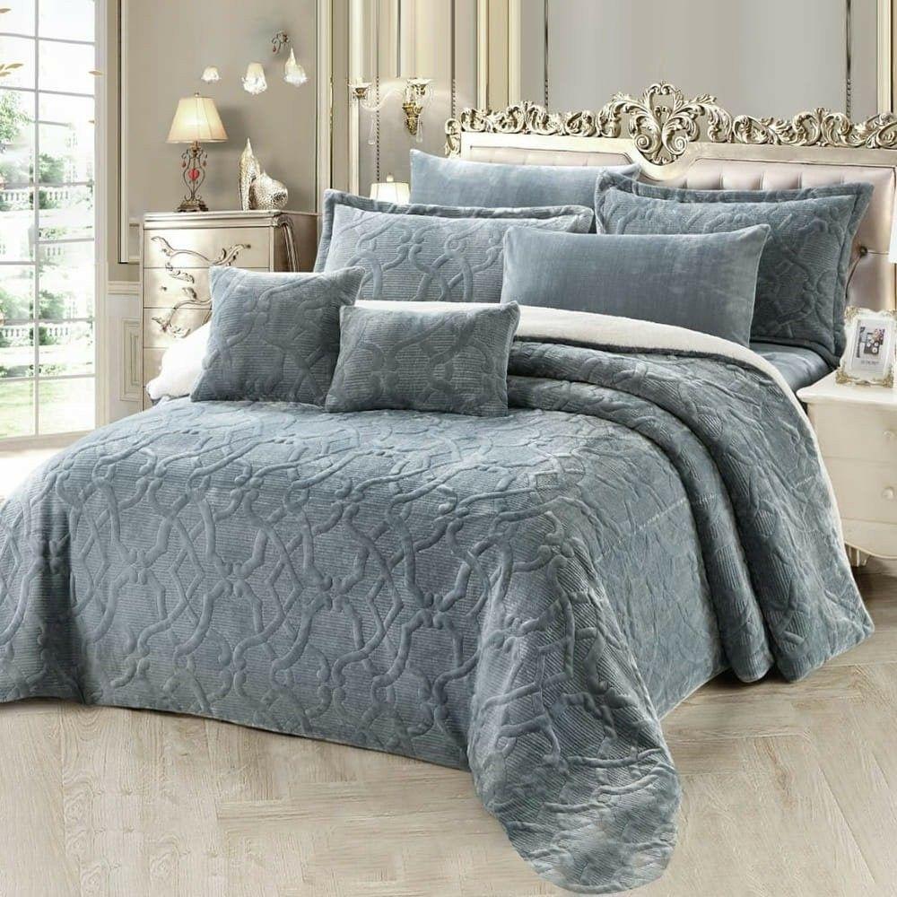 مفرش شتوي مزدوج مخمل وفرو 8 قطع باريل Bed Blanket Home