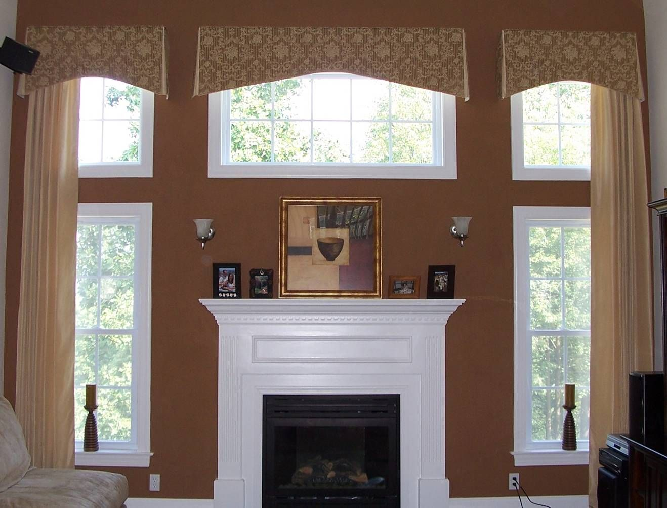 Window treatments for large kitchen windows - Shade Tree Interiors Handling 2 Story Windows With Center Window Above Fireplace Not Sure