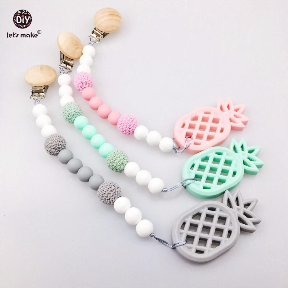 100/% Eco-Friendly Cotton Pacifier Chain Perfect Baby Shower Gift /& Pacifier Holder lets make Baby Pacifier Clip
