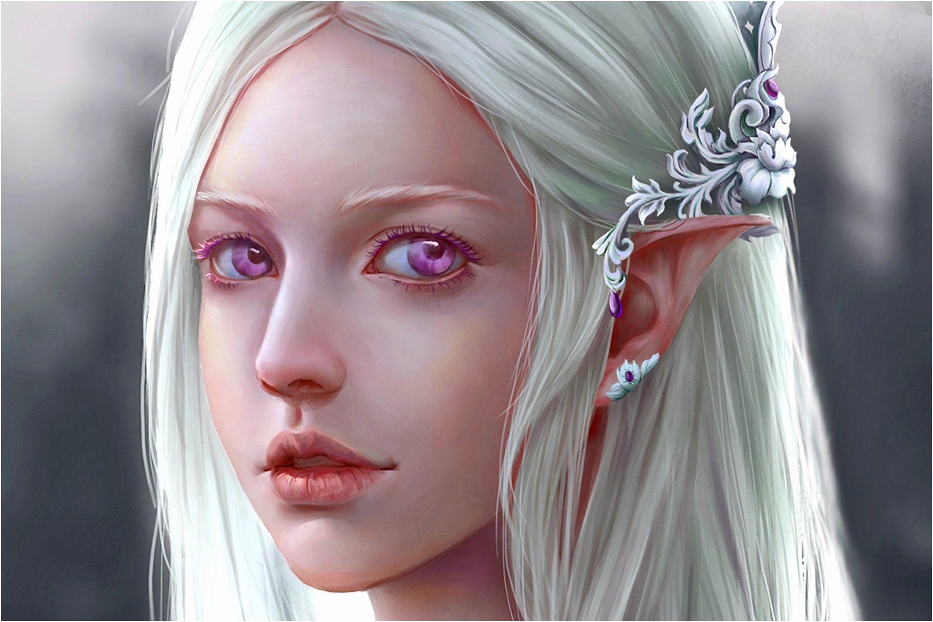 White Haired Girls Best Of Fantasy Elf With Violet Eyes Full