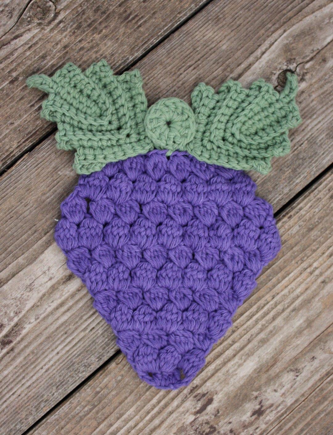 Crochet Grape Bunch Potholder - Tutorial~k8~ | Knit and Crochet ...