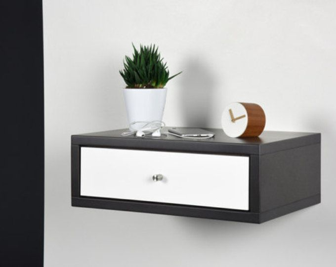 floating nightstand with drawer modern gray stone nightstand modern bedside wood side table. Black Bedroom Furniture Sets. Home Design Ideas