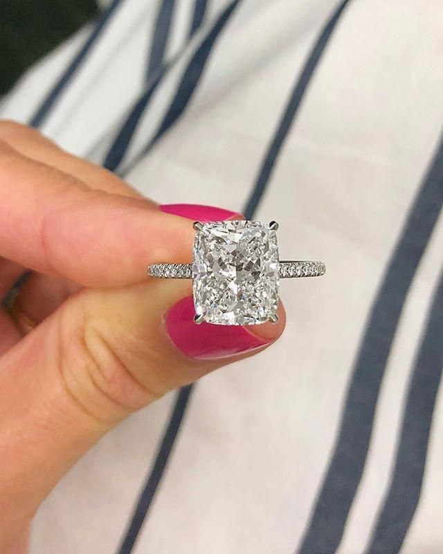 Cushion Cut Micro Pavé Engagement Ring #cushionengagementring