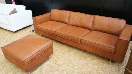 Tommy M Couch 4 Sitzer Hocker Blues Sofa Leder Braun Lp