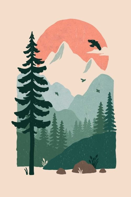 Photo of #mountains #nature #illustration #design #outdoors # –