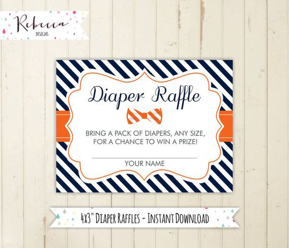 navy diaper raffle ticket navy baby shower card bow diaper raffle tickets tie diaper raffles baby shower game orange and navy by rebeccadesigns22