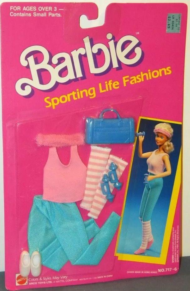 VINTAGE 1987 CALIFORNIA DREAM BARBIE BLUE PINK SKIRT POLKA DOT ACCESSORIES