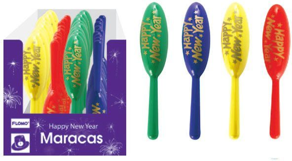 plastic new year maracas Case of 72