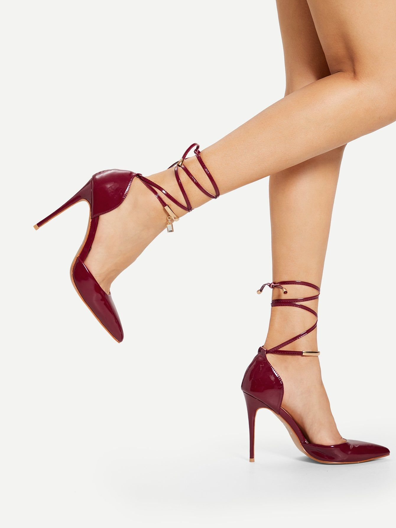 f9d656e0bb Elegant Point Toe Ankle strap Burgundy High Heel Stiletto Tie Leg Pointed  Toe Stiletto Heels