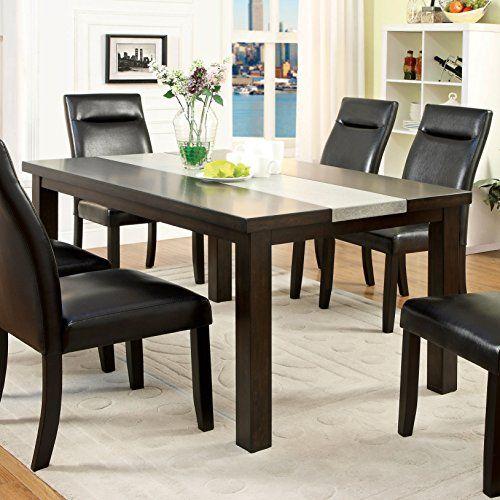 Furniture Of America Garthe Dark Walnut Dining Table With Stone - Dark walnut dining table and chairs