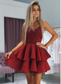 A-Line Layers Homecoming Dresses #cocktaildress