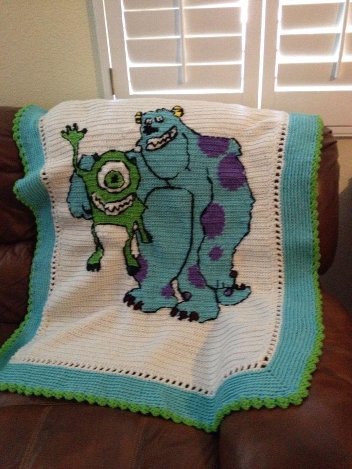 Crocheted Monster Inc Blanket Crochet Ideas Crochet Crochet