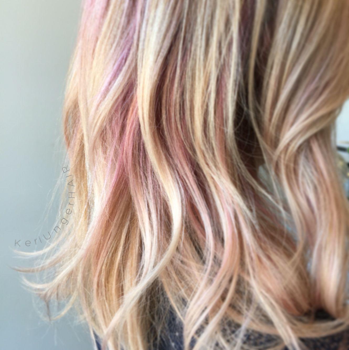 Soft Subtle Hidden Pink In Blonde Haircolor Keriungerhair Cleveland Lob Pink Blonde Hair Pink Hair Streaks Pink Underneath Hair