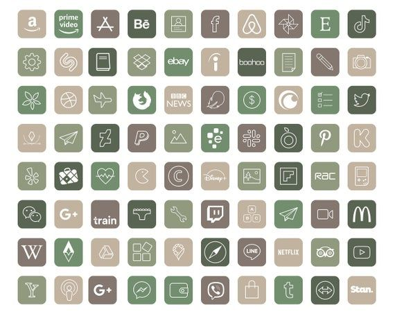 640 Natural Aesthetic iOS 14 App Icons / Social Me