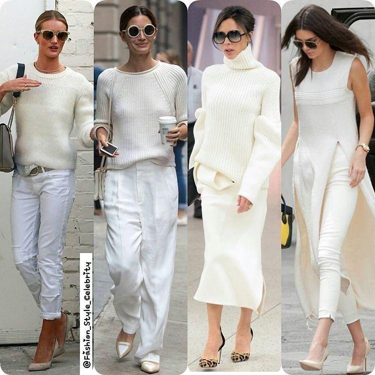 THE ALL WHITE OUTFIT TREND#RosieHuntingtonWhiteley#LilyAldridge#VictoriaBeckham#KendallJenner#allwhite #ootd #inspiration #inspo #fashion #style #celebrity #celebritystyle #heels #vs #angel #model #supermodel #davidbeckham #harrystyles #animalprints #leopardprint #croptop... - Celebrity Fashion