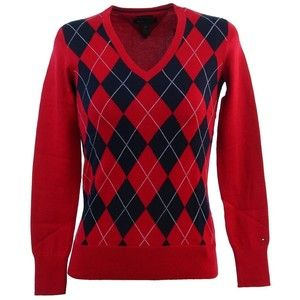 Tommy Hilfiger Womens Argyle Pima Cotton Sweater | Клетка, ромбы ...