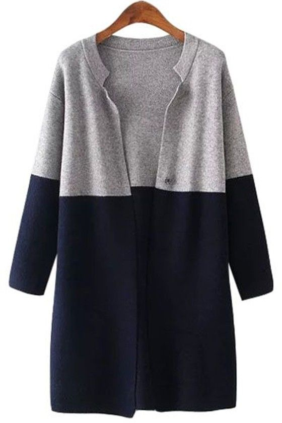 Blue-Grey Patchwork Single Button Turndown Collar Long Sleeve Fall ...