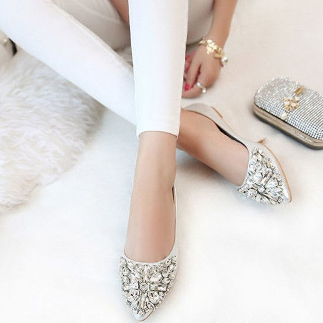e7f3d570e new women Ballet leisure autumn Moccasins pointy fashion ballerina  Rhinestone drill shiny flats loafers shoes princess Crystal