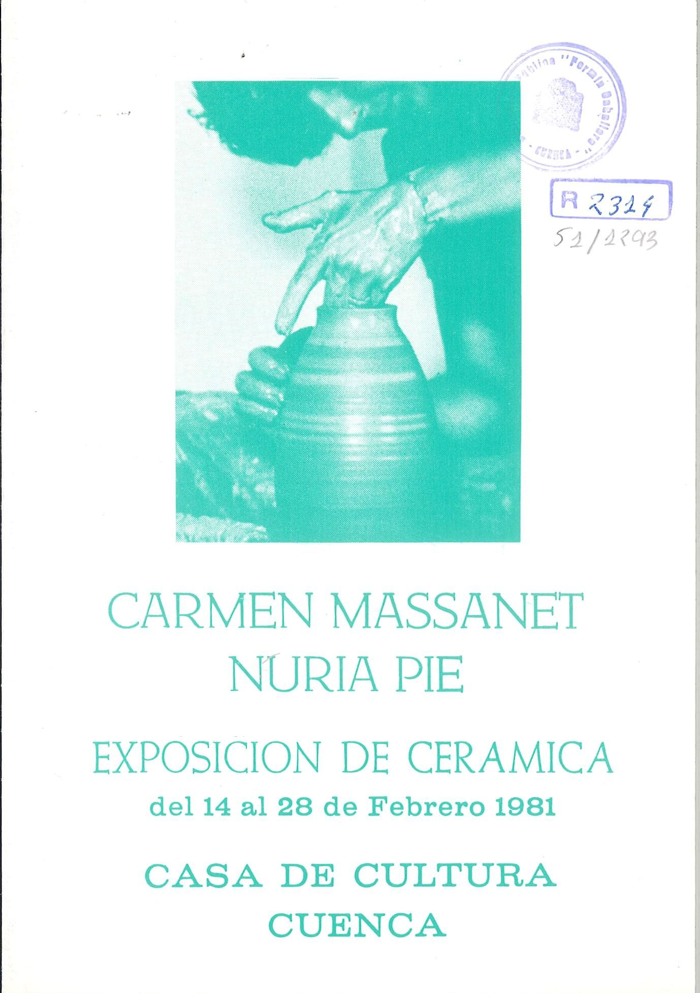 Exposición de cerámicas de Carmen Massanet y Nuria Pie en la Casa de Cultura de Cuenca Febrero 1981 #CasaCulturaCuenca #CarmenMassanet #NuriaPie