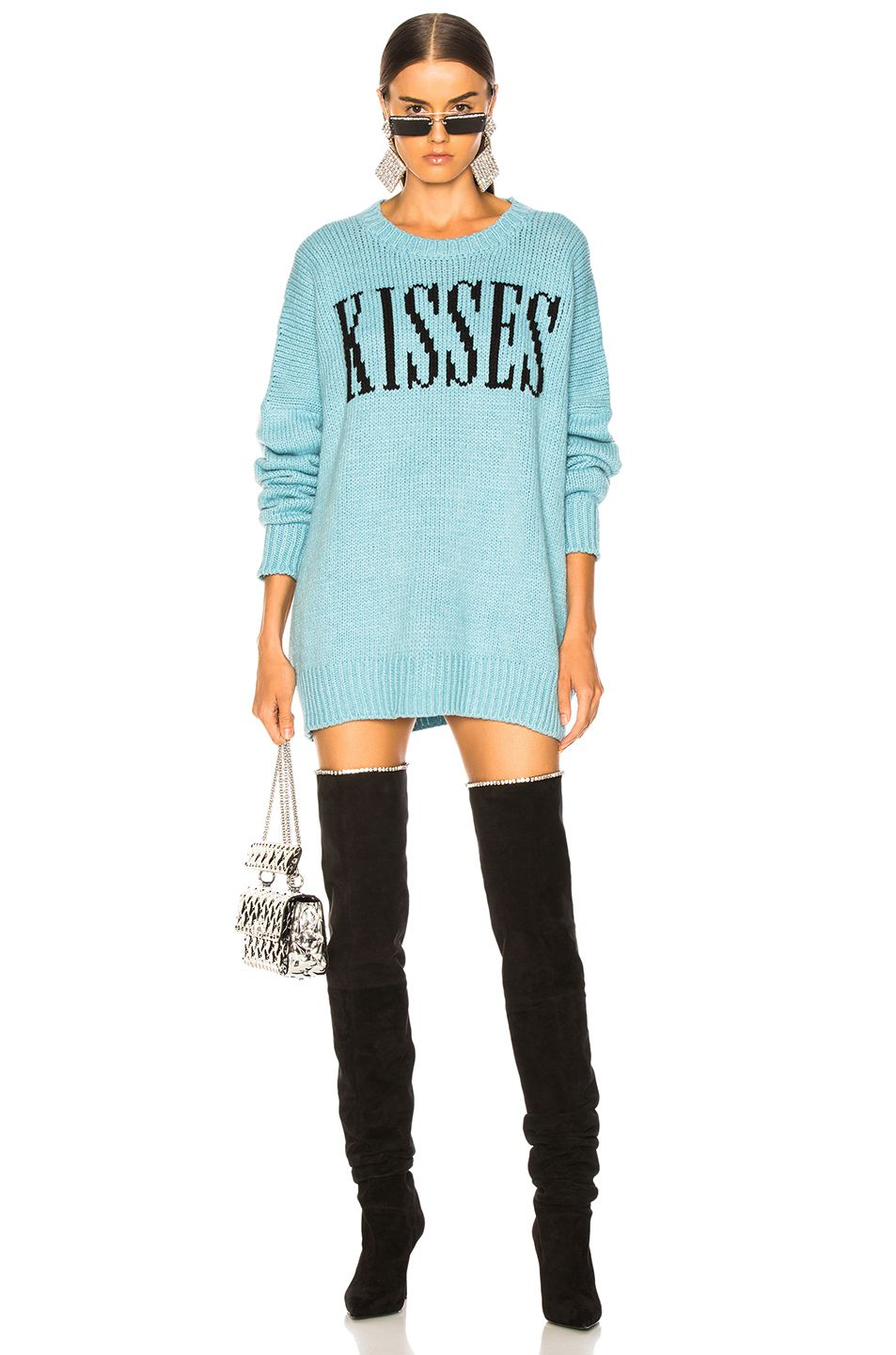 8f4cf8d0a6 Image 1 of Amiri Kisses Oversized Sweater in Light Blue   Black ...