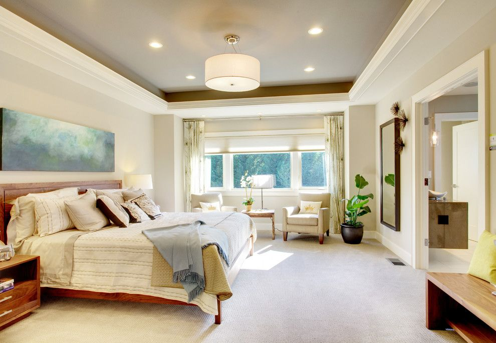 Tray Ceiling Bedroom Contemporary With Drum Shade Beige Walls