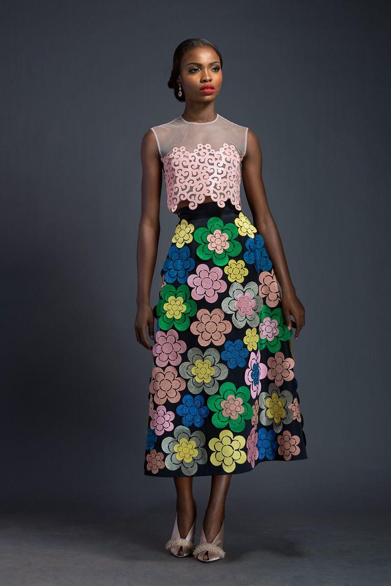 BIBA X REWA Cherry blossom pink diaphanous crop-top with Komole Kandids Bubble motif. A-line, midi skirt adorned with Komole Kandids Daisy motif.