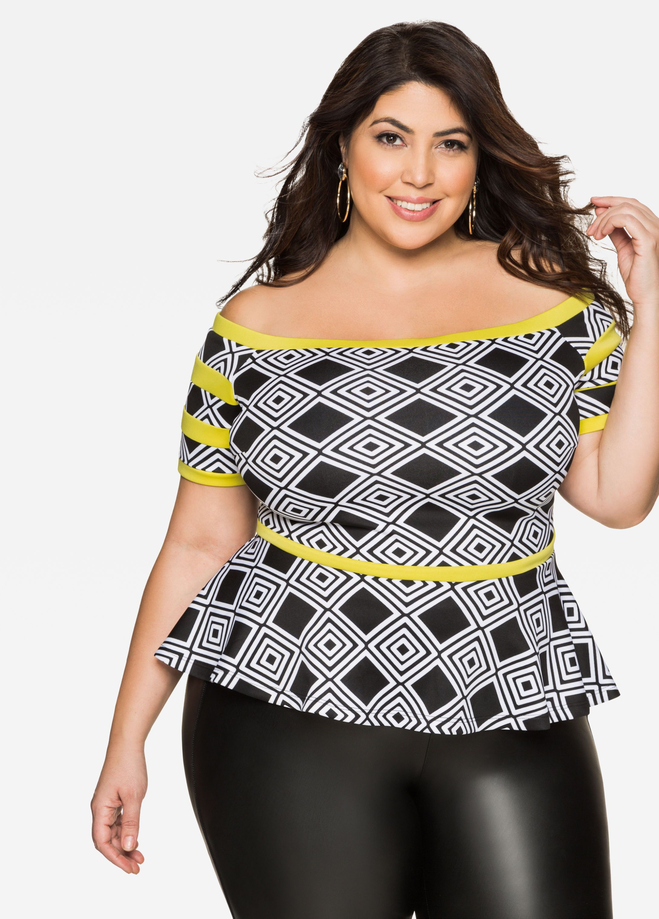 1c04e0e5d283c Geo Off-Shoulder Peplum Top - Ashley Stewart