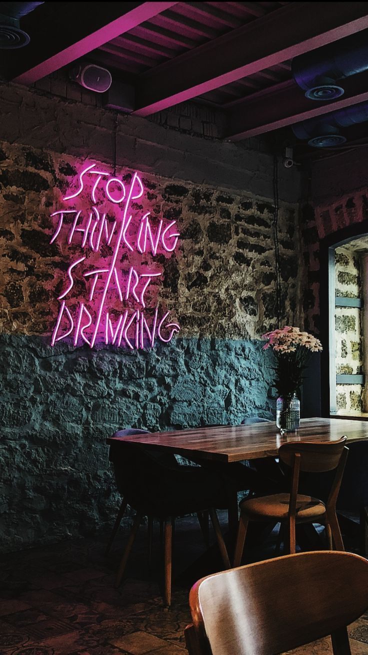 stop thinking start drinking Neon quotes, Neon bar signs