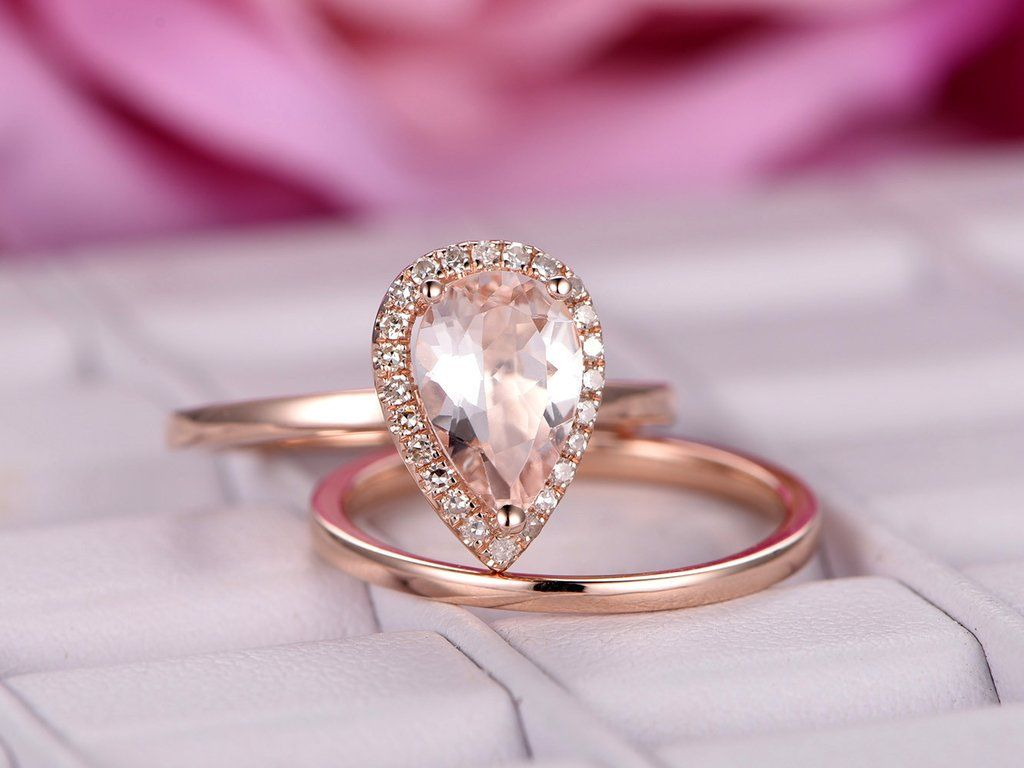 Pear Morganite Engagement Ring Briadal Sets Plain Gold Band 14K Rose ...