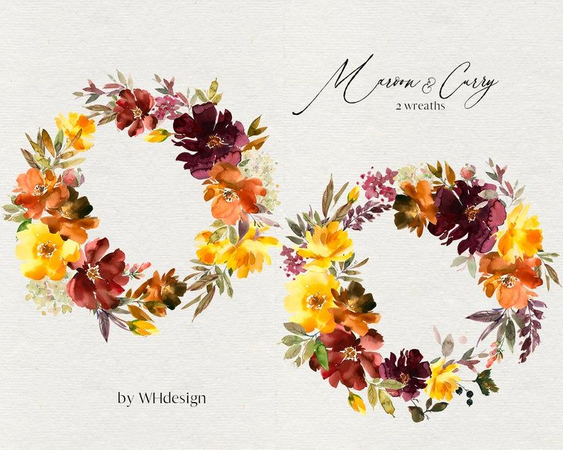 Maroon Curry Watercolor Floral Clipart Brown Burgundy Orange Etsy Floral Watercolor Clip Art Floral