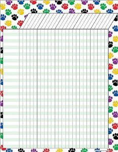 Teacher Created Resources Colorful Paw Prints Incentive Chart.