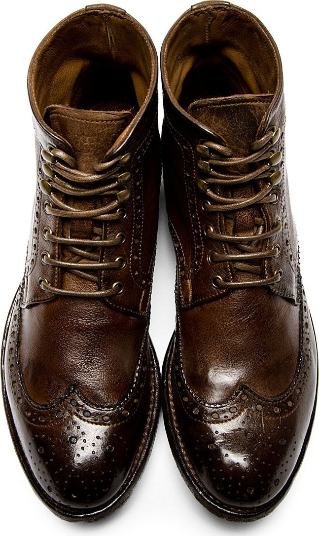 Officine Creative Brown Leather Brogued Ignis Boots