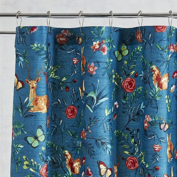 Pier 1 Imports Woodland Critters Shower Curtain 40 Liked On Polyvore Featuring Home Bed Bath Curtains Teal Butterfly