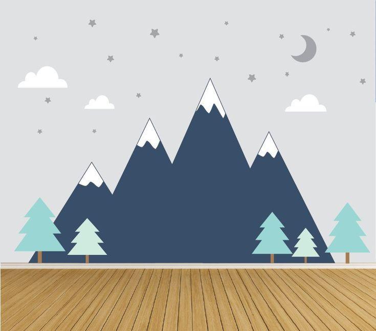 Berge Wall Decal Woodland Baby Zimmer Aufkleber mit Bäumen