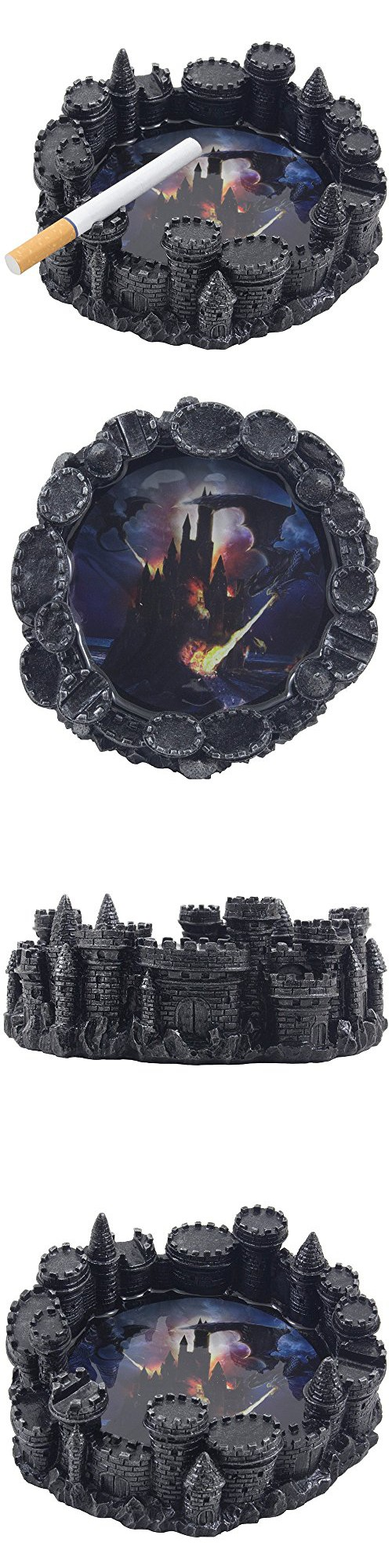 mythical fire breathing dragon attacking castle ashtray in metallic look for decorative gothic and medieval home