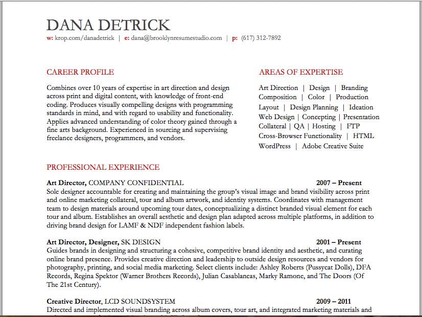 ArtCreative Director Resume  Brooklyn Resume Studio  All things denim  Resume Artist resume