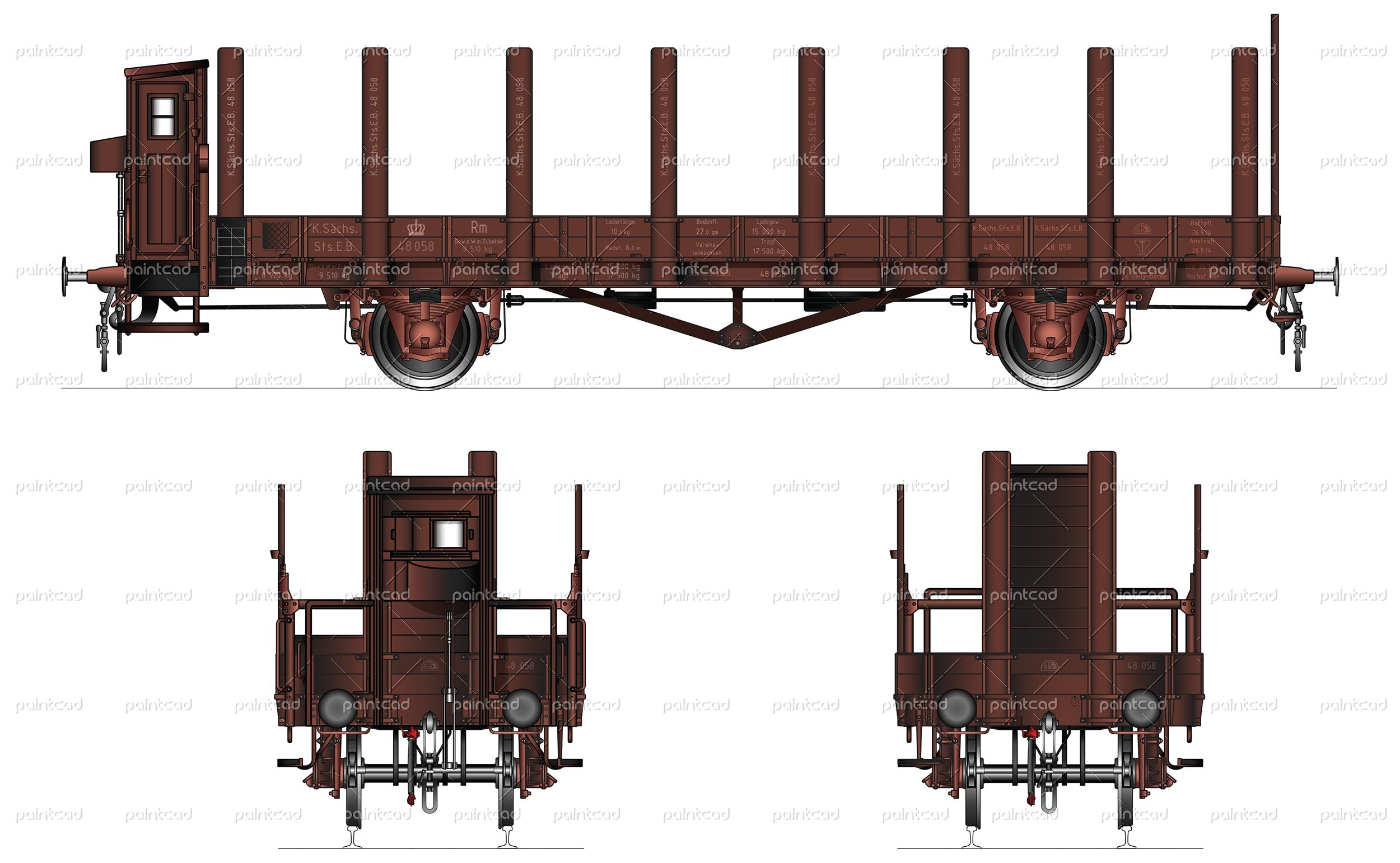 Open Freight Wagon Type Rm With Brakeman Cabin Operated By The