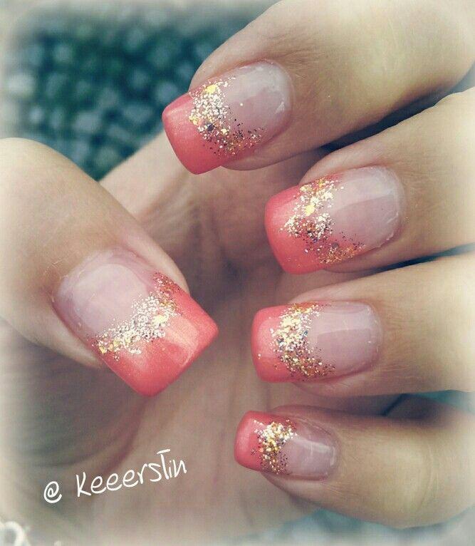 Coral gold french glitter nail art | nails | Pinterest