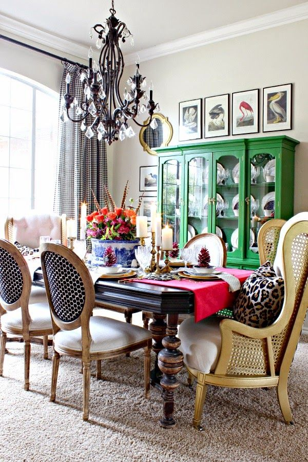 stunning thanksgiving ready colorful diningroom #fooddinners