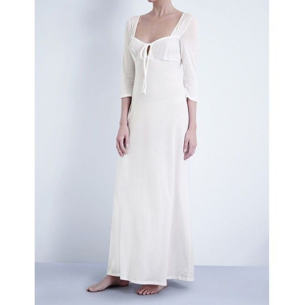 34c6b31598 Bodas Long cotton-jersey nightdress ( 75) ❤ liked on Polyvore featuring  intimates