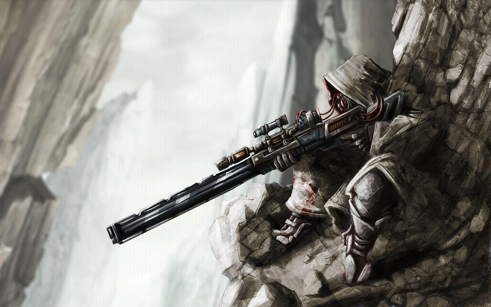 art position sniper rifle rain is marvel sniper HD wallpaper