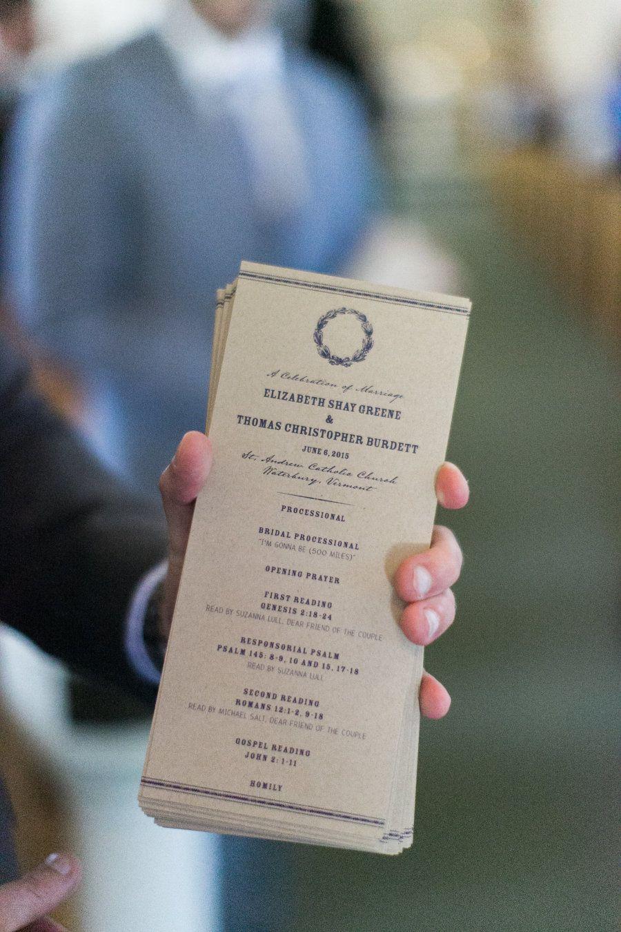Rustic Elegant Vermont Wedding Wedding church programs