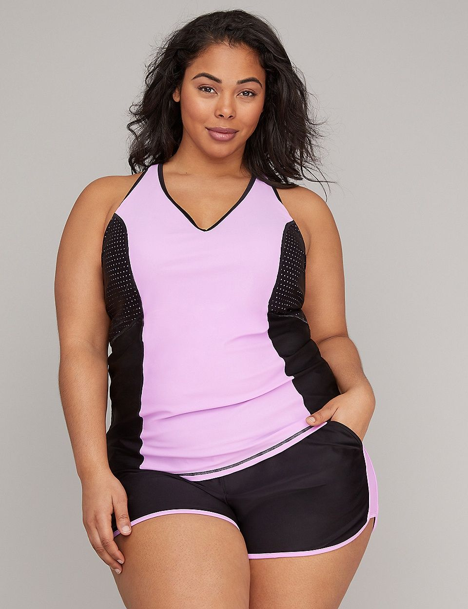 217d473bdc082 Perforated Active Swim Tankini Top with Built-In Underwire Bra | Lane Bryant