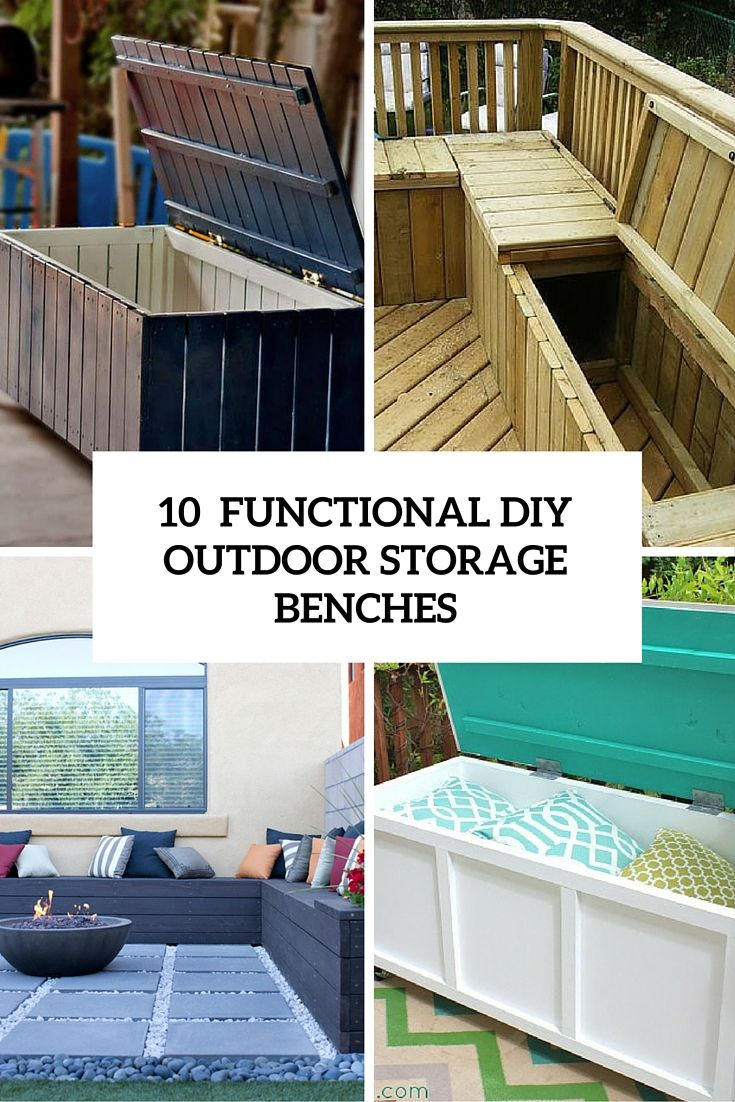 10 Smart DIY Outdoor Storage Benches (With images